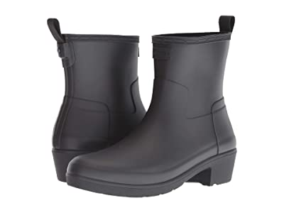 Hunter Refined Low Heel Ankle Biker Rain Boots (Black) Women