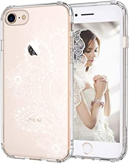 iPhone 7 Case, iPhone 8 Case, MOSNOVO White Floral Henna Paisley Flower Clear Design Transparent Plastic with TPU Bumper Protective Back Case Cover for Apple iPhone 7 (2016) / iPhone 8 (2017)