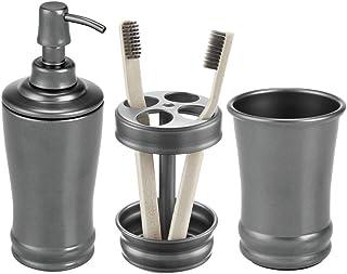 mDesign 3 Piece Metal Bathroom Vanity Countertop Accessory Set, Steel, Graphite Gray, Set of 3