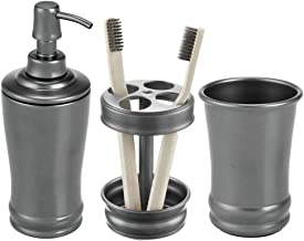 mDesign Metal Bathroom Vanity Countertop Accessory Set - Includes Refillable Soap Dispenser, Divided Toothbrush Stand, Tumbler Rinsing Cup - 3 Pieces - Graphite Gray