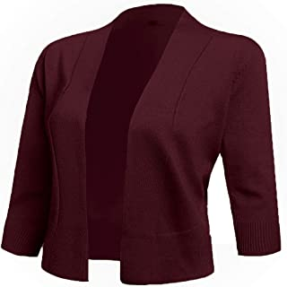 Women's 3/4 Sleeve Cropped Cardigans Sweaters Jackets Open Front Short Shrugs for Dresses
