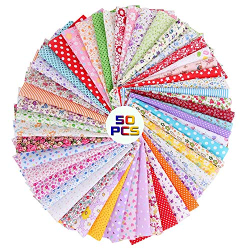 CHARS Stoffreste Baumwolle 50 Stück 25x25cm Baumwollstoff Meterware Stoffe DIY Baumwolltuch Zum Patchwork Vorgeschnittene Nähen Scrapbooking (Rainbow)