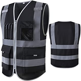 Black Safety Vest Reflective With Pockets And Zipper Construction Vest With Reflective Stripes High Visibility Work Unifor...