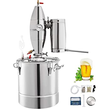 VEVOR 110V Water Alcohol Distiller 20L 5.28 Gal Moonshine Wine Making Boiler Home Kit 304 Stainless Steel with Thermometer Perfect for Whiskey Brandy, Sliver