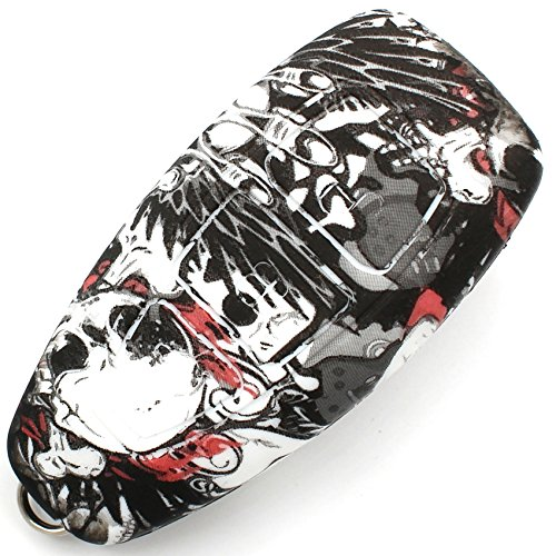 Caso Chiave in Silicone Cover per 3 Bottoni Auto Copertura di Protezione Keycase FD (Skull)