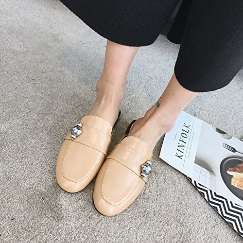 Qingchunhuangtang@ Printemps et été paresseux Chaussons Chaussons Sandales Sandales Baotou carrés