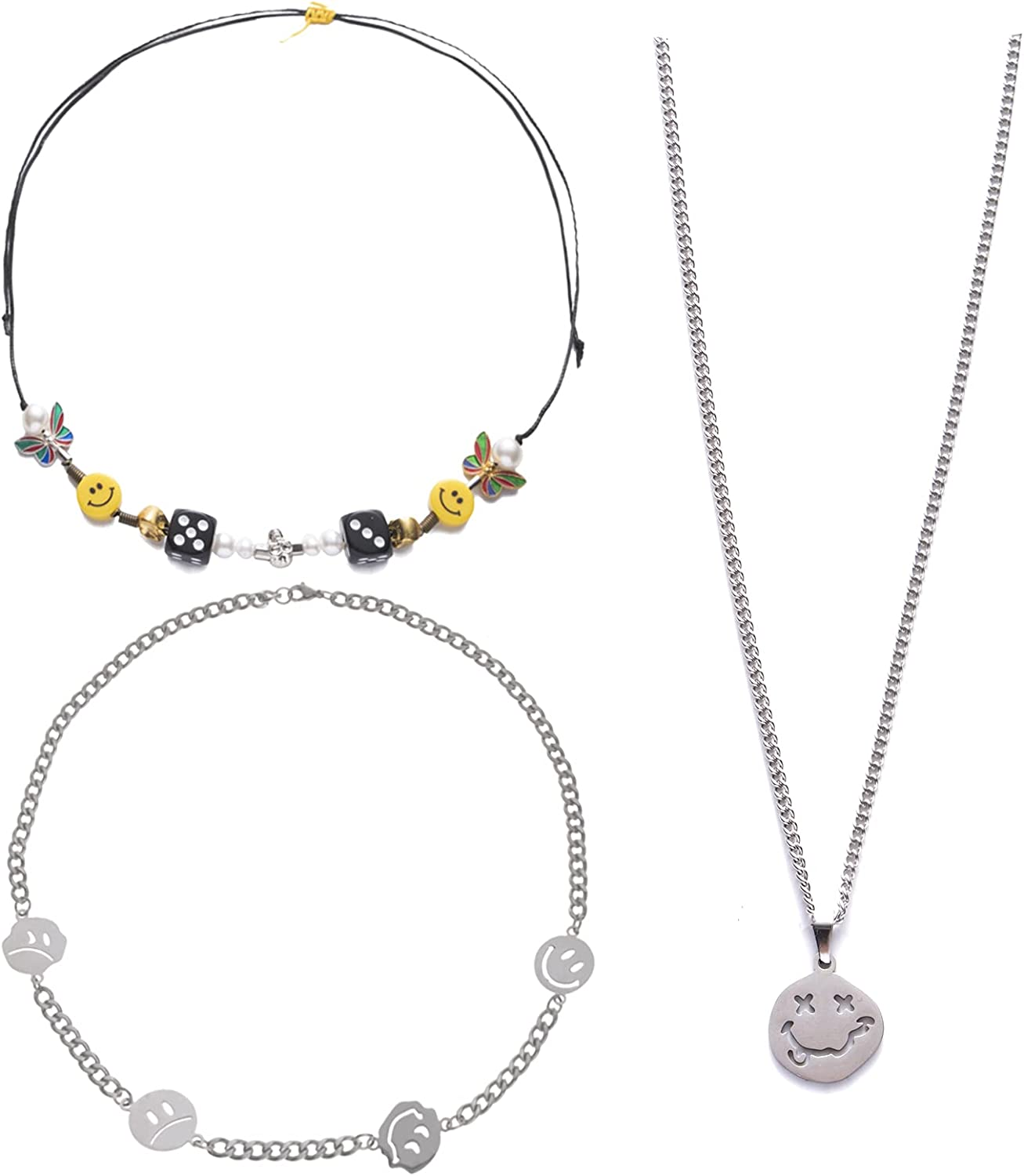 JEWPARK 3 PCS Smiley Face Necklaces for Men Women ASAP Rocky Necklace Set Dice Skull Pearl Butterfly Necklace Punk Irregular Funny Smile Necklaces Goth Hip Hop Street Dance Jewelry
