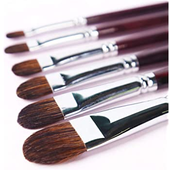 Transon Red Sable Filbert Paint Brushes 6pcs for Watercolor, Acrylic, Oil, Tempera and Gouache Painting
