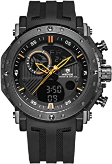 Lixada WEIDE Dual Display Two Movement Quartz Digital Men Watch 3ATM Waterproof Sport Week Month Calendar Auto Date On Time Alarm Stopwatch Timer 24 Hours SPL Split Time Wristwatch with PU Strap Band