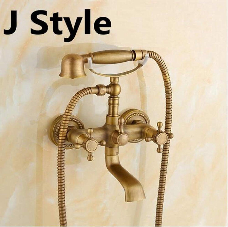 Antike Bad-Wasserhhne aus gebürstetem Messing Wandmontage-Badezimmer-Waschtischmischer-Kran mit Handbrause Bad & Dusche Wasserhahn,Jstyle