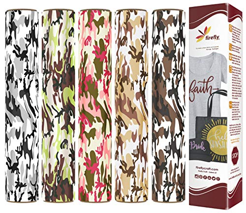 Firefly Craft Camouflage Heat Transfer Vinyl Bundle | Camo Pack HTV Vinyl Bundle | Iron On Vinyl for Cricut and Silhouette | Pack of 5 Colors Including Grey Camo, Pink Camo & Tan Camo - 12 x 20 Each