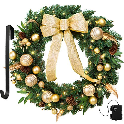 LIFEFAIR Artificial Christmas Wreaths, 24 Inch Wreath Gold Bowknot, Berry, Ball, with 50 Battery Operated LED Lights and Christmas Hanger