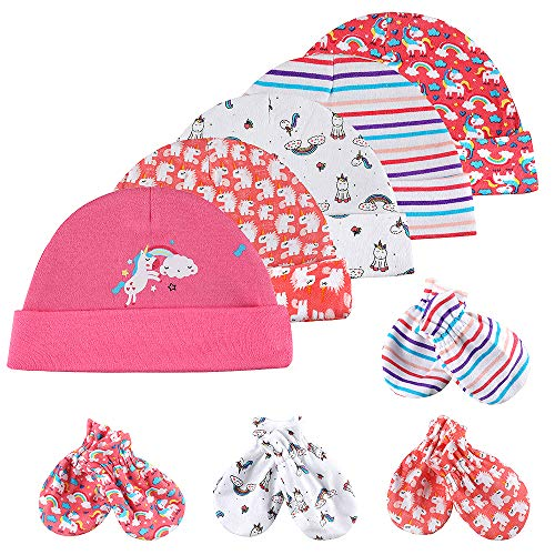 Lictin Newborn Girls Mittens and Caps-5 Pcs Caps Hats & 4 Pairs No Scratch Mittens Glove (Apparel)