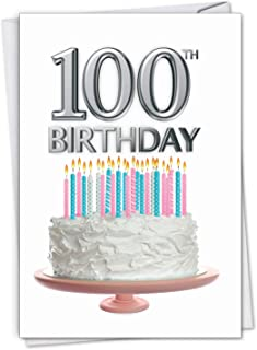 Big Day 100 - Milestone 100th Birthday Card with Envelope (4.63 x 6.75 Inch) - Incredible Birthday Greeting Card for Grandparents, Century Birthdays - Happy Bday Congratulations C7060LMBG