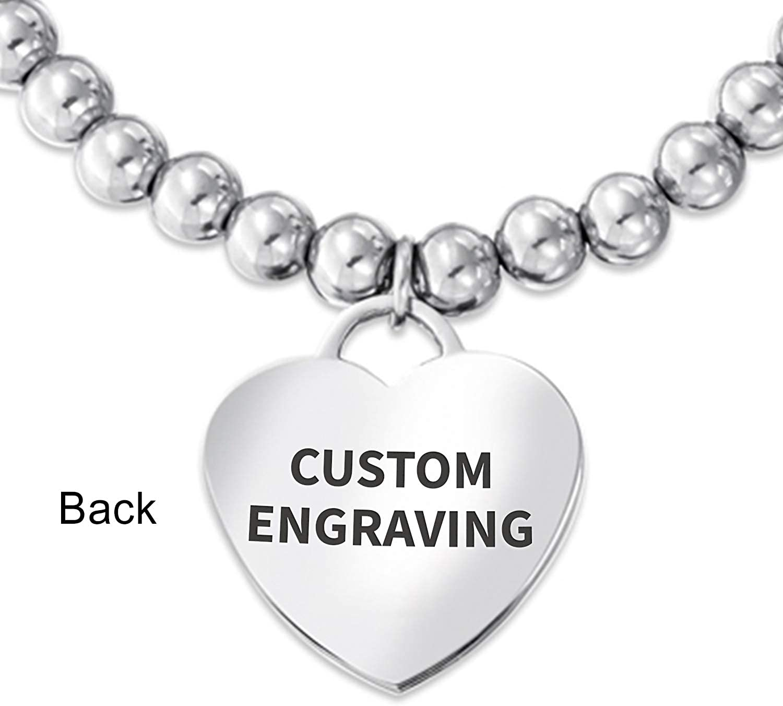 Personalize Engravable Medical Alert ID Pink Ribbon Cancer Survivor Stretch Bracelet Heart Shape Charm Tag for Women
