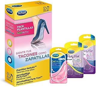 Scholl Gel Activ, pack de 3 plantillas, para tacones muy altos, protector talón y puntos sensibles, para mujer