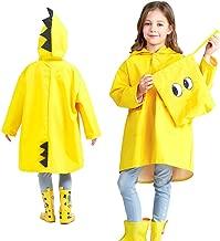 LAIYYI Einfarbiger Regenmantel Mit Kapuze Für Kinder, Einfach Zu Falten Tragbare Süße Dinosaurier-regenmanteljacke Poncho Rainwear Für Schule/Camping
