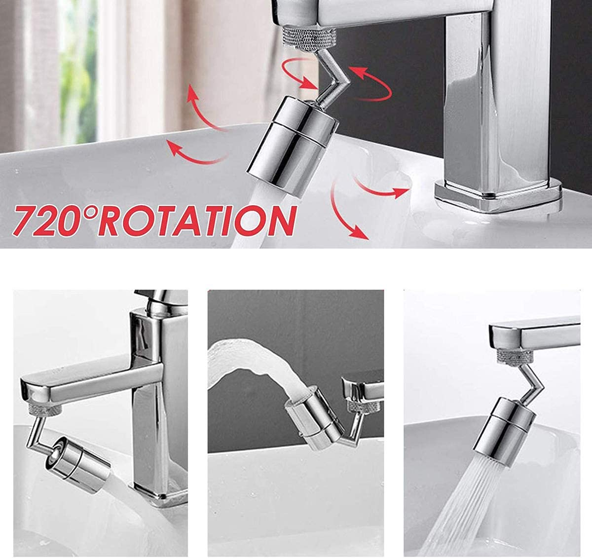 Silver Wondery Jute Hessian 720/° Universal Rotatable Faucet Sprayer,Anti-Splash Filter Faucet Head with 4-Layer Net Filter for Kitchen,Leakproof Design Oxygen-Enriched Foam