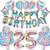KUNGYO Arco Iris25 CumpleañosFiestaDecoraciones - De las Mujeres CumpleañosFiesta Suministros HAPPY BIRTHDAY Globo Bandera, Número 25 FrustrarGlobo,Arco IrisEstrella y Corazón Globo 28 Piezas