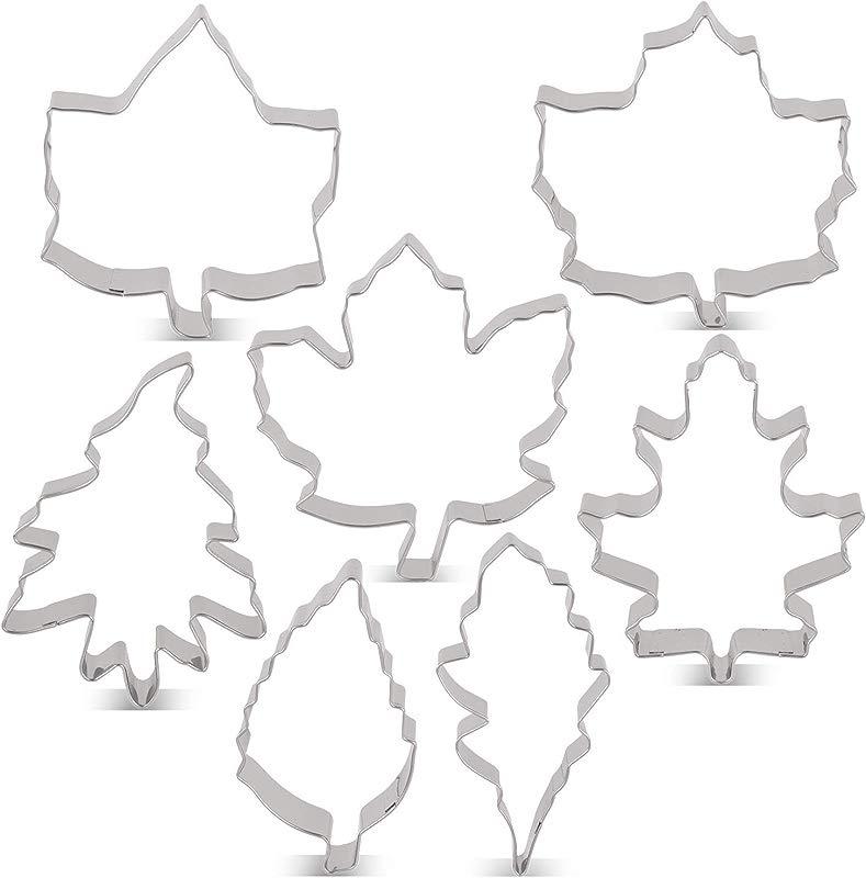 LILIAO Leaf Cookie Cutter Set 7 Piece Maple Leaf A B Rose Leaf Ivy Leaf Oak Leaf A B C Stainless Steel