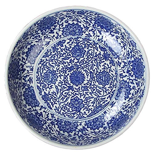 HUAHUA Bowls 13 Inches Oversized Super Extra Large Soup Bowl Mixing Bowl Big Capacity Fruit Salad Bowl Noodle Vegetable Basin Decoration Collection Container Storage Bowl Hand Painting Blue and White