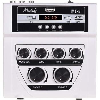 Muslady ミニカラオケサウンドオーディオミキサー ステレオエコーミキサー デュアルマイク入力 BT録音MP3機能をサポート TV PCスマートフォン用 アンプMF-8