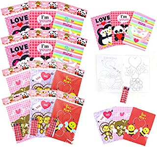 TINYMILLS Valentine's Day Coloring Book and Crayon Set for Kids Party Favors with 12 Coloring Books and 48 Crayons for Val...