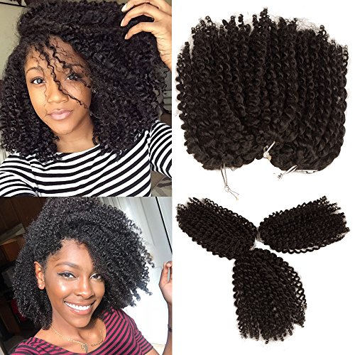 Kinky Curly Crochet Hair 8 Inch Short Marlybob Jerry Curl Natural Black Color Afro Kinky Twist Hair Crochet 3pcs/pack Soft Synthetic Crochet Braiding Hair Extention For Black Women(1B)
