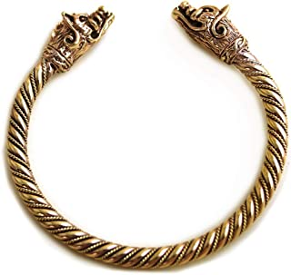 Bronze Norse Viking Boar Head Twisted Cable Bangle Cuff Bracelet Arm Ring Pagan Jewelry