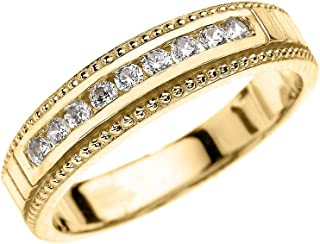 14k Yellow Gold Diamond Wedding Band Ring for Him