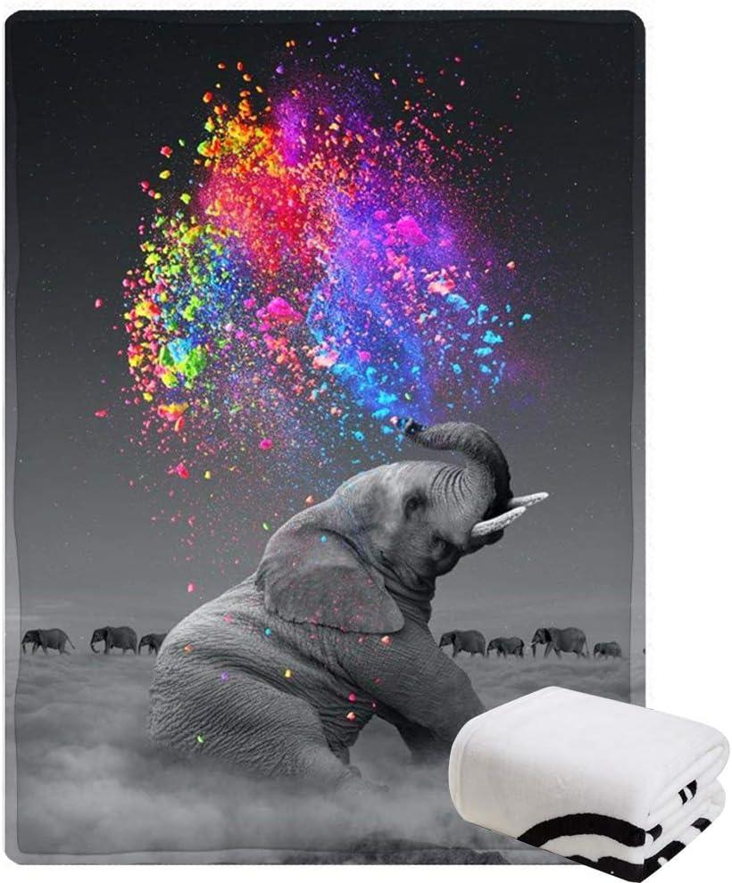 Morebee Sale price Painting Elephant Regular store Fleece Throw Design Custom Lig Blanket