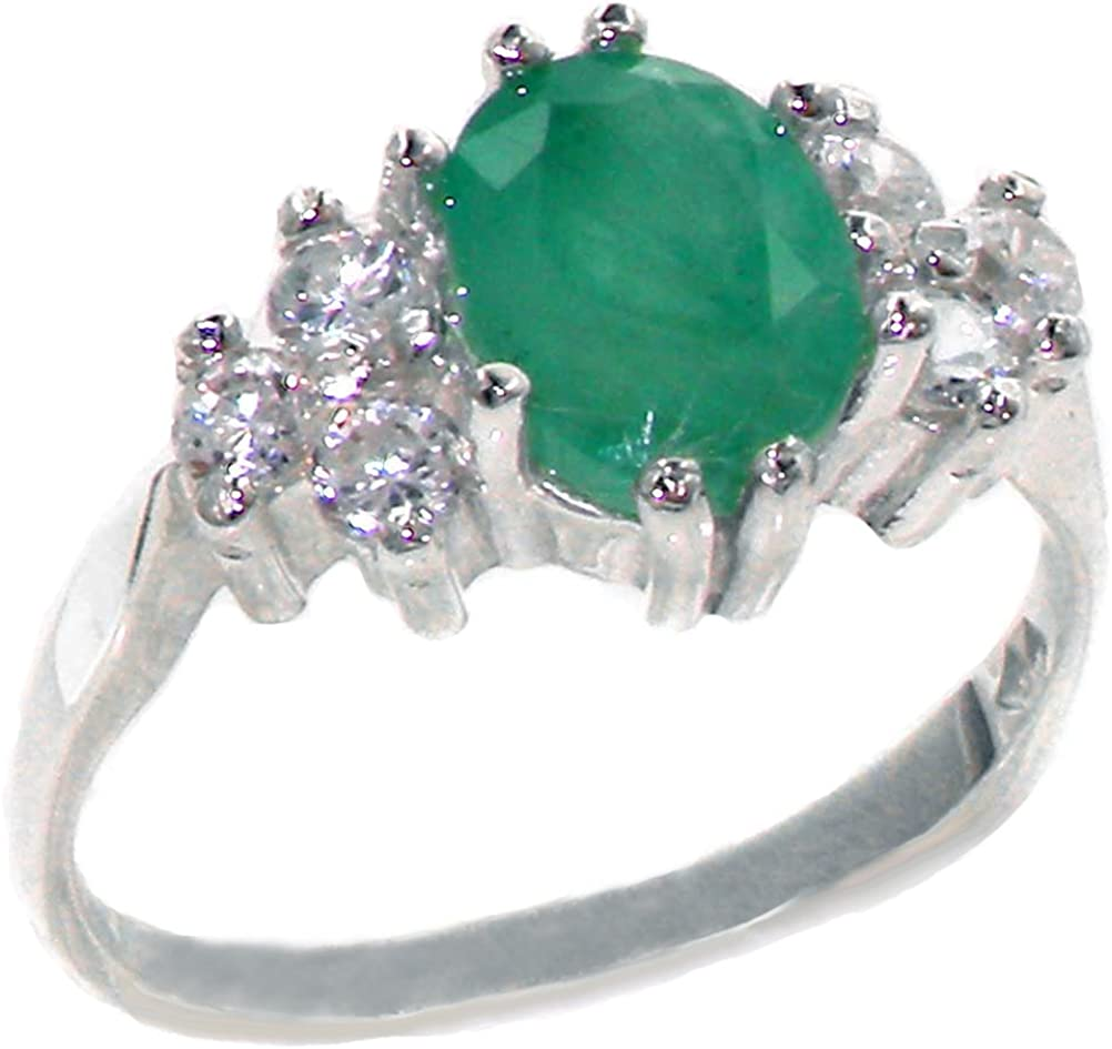 LetsBuyGold 10k 55% OFF White Ranking TOP1 Gold Natural Womens Emerald and Cl Diamond