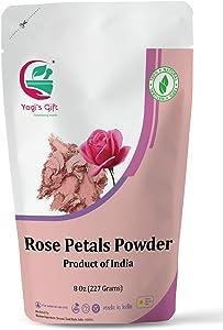 Organic Rose Petal Powder | 8 oz | Make Tea, Smoothies or Lattes | Best Ingredient for face mask Too | Soothing Fragrance | Excellent Natural Skin Toner | Yogi's Gift