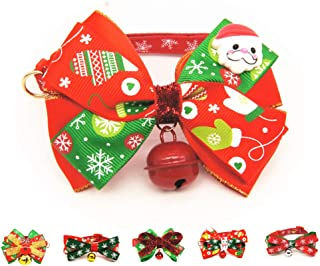 QLINLEAF Adorable Christmas Pet Bowtie Collar with Bell Adjustable Cat Dog Necklace Cute Comfortable Coctume