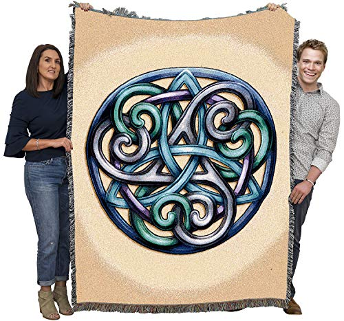 Celtic Grace -Trinity Knot Triquetra with Spirals - Brigid Ashwood - Blanket Throw Woven from Cotton - Made in The USA (72x54)