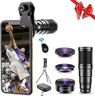 Apexel Phone Lens Kit 6 in 1, 22X Telephoto Lens, 205° Fisheye Lens, 120° Wide Angle Lens & 25X Macro Lens(Screwed Togethe...