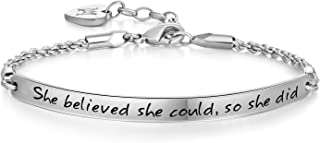 Annamate 2019 Graduation Gift Bracelet for Girls, Inspirational Jewelry Gifts Engraved Message She Believed she Could so she did Quote Bracelets for Women