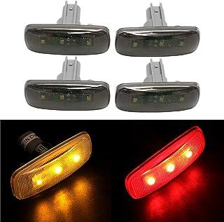 4PCS Dual Cab Bed Fender LED Side Marker Lights for 2010-2017 Dodge Ram 2500 3500 (2x Amber, 2x Red) Smoked Lens