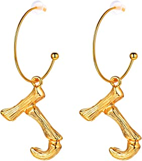 Letter Earrings Semi-Hoop Drop Dangle Capital Alphabet Small Charms Fashion Jewelry Open Half Circle Round Wire 18K Gold Plated Metal Alloy Bamboo Initial Earrings for Women Girls