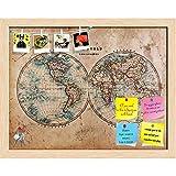 ArtzFolio Mid 1800s Old World Map Western & Eastern Hemispheres Printed Bulletin Board