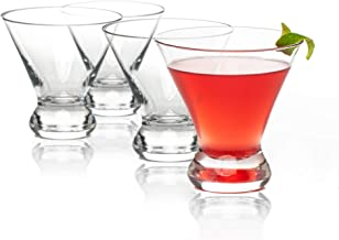Martini Glasses Set of 4 | Stylish Stemless Cocktail Glasses with Heavy-Base | 8-Ounces Short Stem Martini Glasses Perfect Gift for Wedding, Housewarming Party, Birthday| Best Glassware for Home Bars
