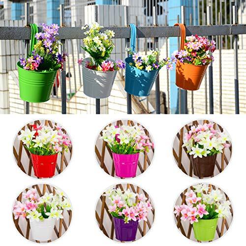 Kitchnexus 10er Set Metall Hängeblumentöpfe mit Haken, Balkon Bunt Kleine Pflanzer, für Balkon Garten Fenster Deko - Ø 10cm