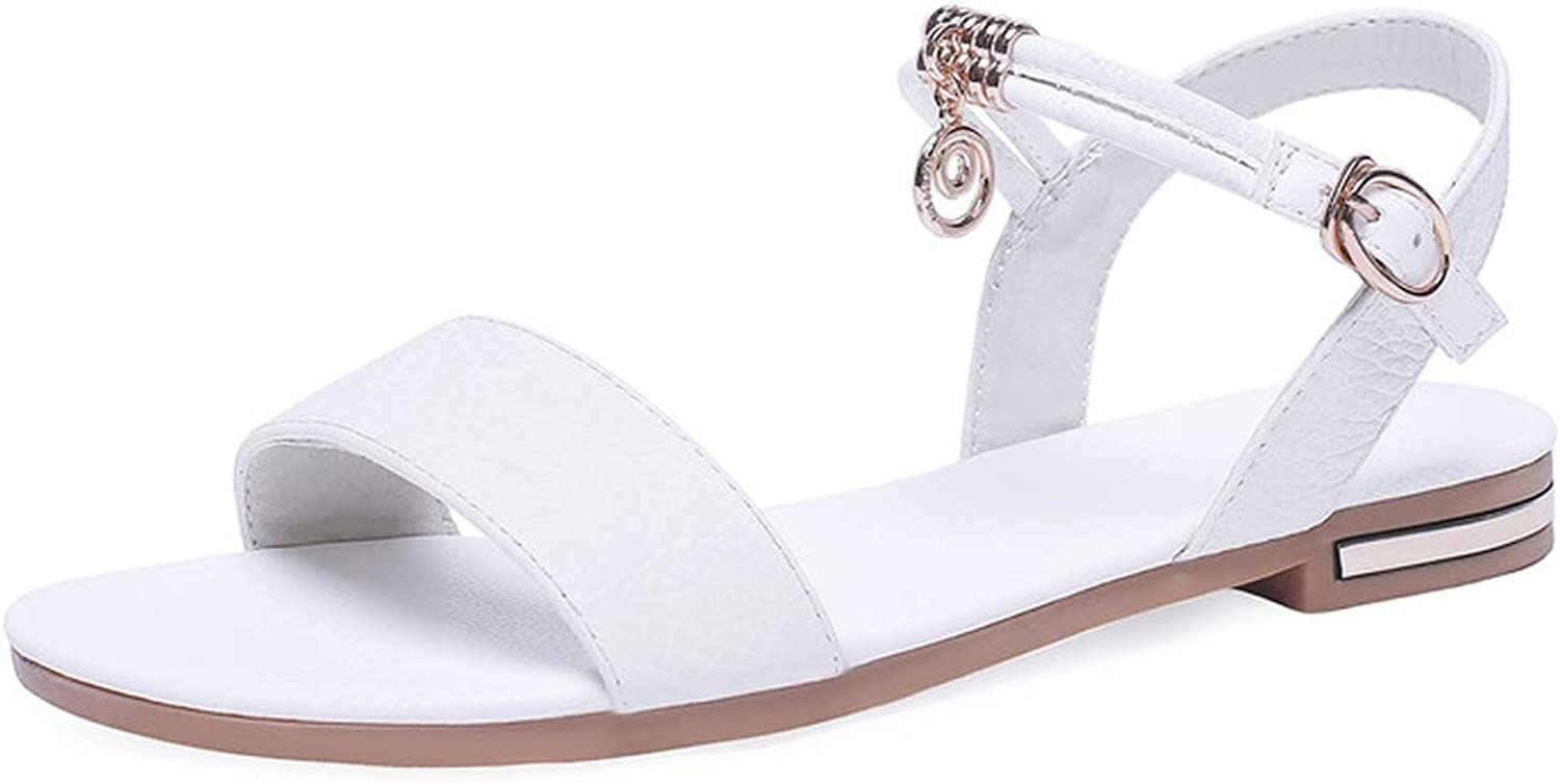 Genuine Leather shoes Women Sandals Buckle Black Ladies Summer shoes Casual Flat Sandals