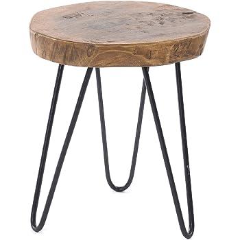 DESIGN DELIGHTS BEISTELLTISCH BAUMSCHEIBE   Tamarindenholz, Metall, Ø 34 cm, H 54 cm, Shabby Chic   Couchtisch, Blumentisch, Telefontisch aus Holz