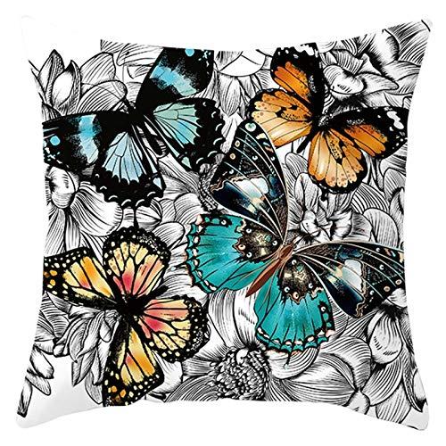 ANAZOZ Funda Cojin 50x50 Decorativo,Funda Cojines Decorativos para Sofa Azul Verde Gris,Mariposas y Flores Funda Cojin Poliester Fundas de Cojines Sin Relleno