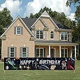 9.84*1.64 Feet Star Wars Birthday Banner, Happy Birthday Star Wars Sign, Space Star Wars Themed Birthday Decorations for Boys