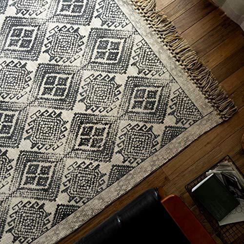 サヤンサヤン 洗える キリム 手織り ラグマット ジェミニ 200x200 2畳 ブラック インド綿