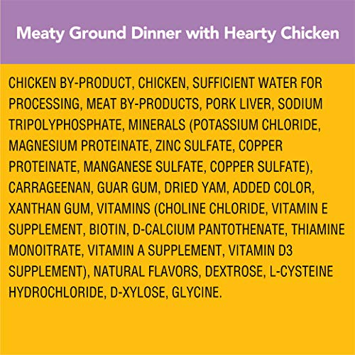 PEDIGREE Adult Wet Dog Food Chopped Meaty Ground Dinner with Hearty Chicken, (16) 3.5 oz. Pouches