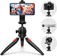 Criacr Phone Tripod, Adjustable Camera Tripod Stand Holder, with Wireless Remote Shutter, 360° Rotating Phone Tripod Mount, GoPro Mount, Mini Tripod Stand Compatible with iPhone Android, Sports Camera