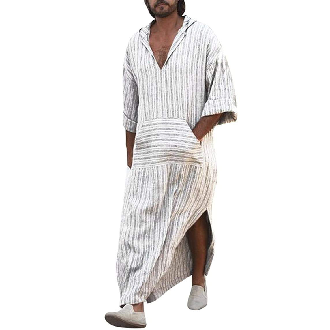 Mens Robes Long,Vanvler Male Long Sleeve Dress Shirt -Striped Blouse Hooded Vintage Casual Kaftan